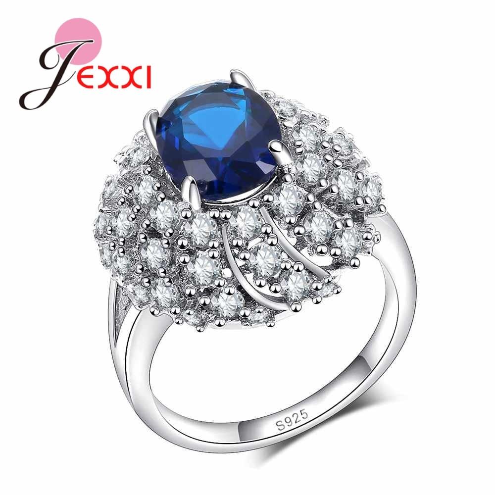JEXXI Oval Austrian Crystal Ring With Stones Wedding