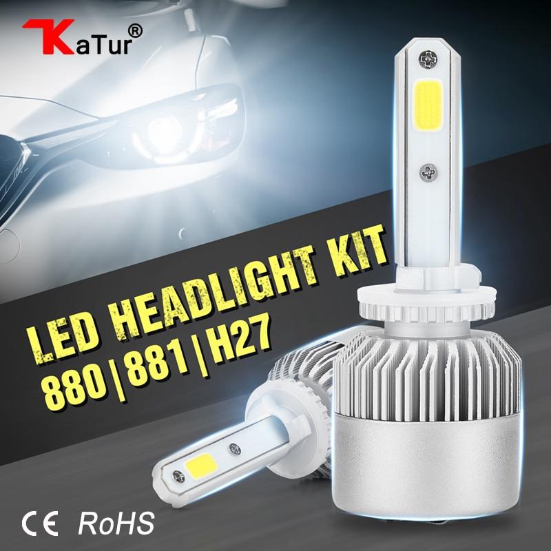 Katur 2pcs H27 880 881 COB LED Car Headlights Kit 80W 8000lm Front H27W Fog Light Bulbs 6500K 12V 24V Led Auto Headlamp