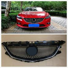 MODIFIED DIAMOND FRONT RACING GRILLE GRILLS ABS BUMPER MESH MASK TRIMS COVER FIT FOR MAZDA 6 ATENZA 2014-2016 GRILL CAR STYLING car front grille trim auto grille decoration cover for mazda 6 atenza 2014 2015 abs chrome