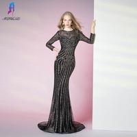 Luxury Black Full Sleeve Formal Evening Dresses Long Crystals Beaded Mermaid Robe De Soiree YQLNNE