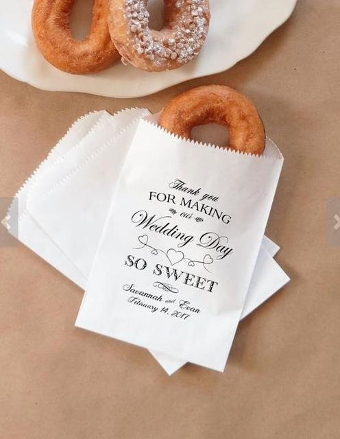 563a6cc61e04 custom wedding Donut Bags Bridal baby Shower white Paper Bakery Cookie  desserts gift Favors Bags holder