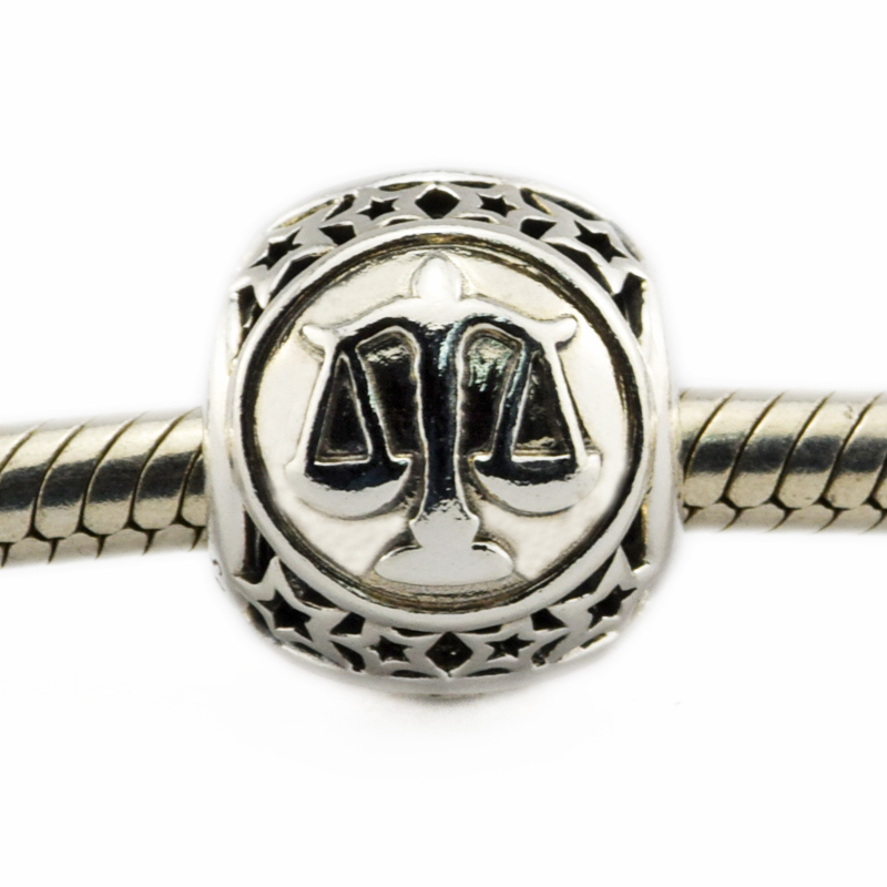 Fits For Pandora Bracelets Libra Star Sign Charms 100% 925 Sterling Silver Beads Free Shipping