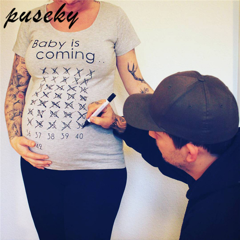 Puseky Baby Is Coming Print Women Maternity Clothing Pregnant Short T shirt Funny Top for photography photo shoot Plus Size stylish plus size jewel collar half sleeve letter print t shirt for women