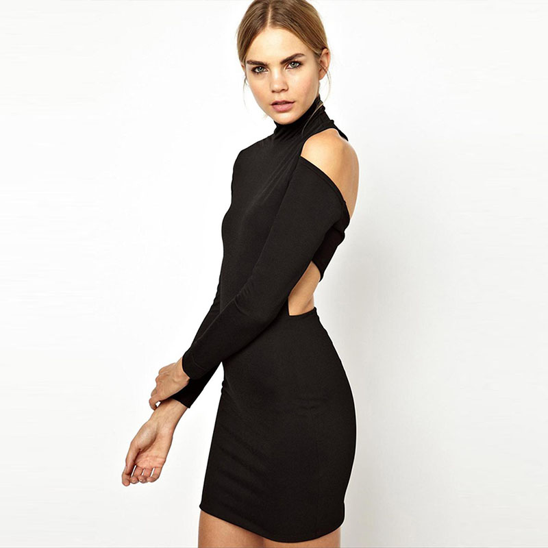 Women Sexy Turtleneck Cold Shoulder Dress Long Sleeve Back Cut Out Bandage Club Bodycon Dress 2018 Party Casual Mini Dress Black