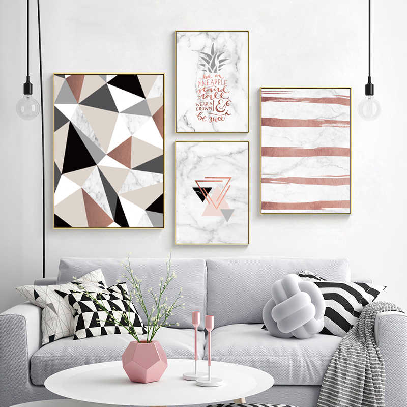 modern simple small fresh plant  marble Art Canvas Art Print Painting Poster Giclee Print Wall Pictures For Home Wall Decor