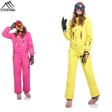 SAENSHING one piece Winter Warm Women Ski Suit Waterproof Thermal Snow Jumpsuit Female Breathable Slim Set womens sport suit
