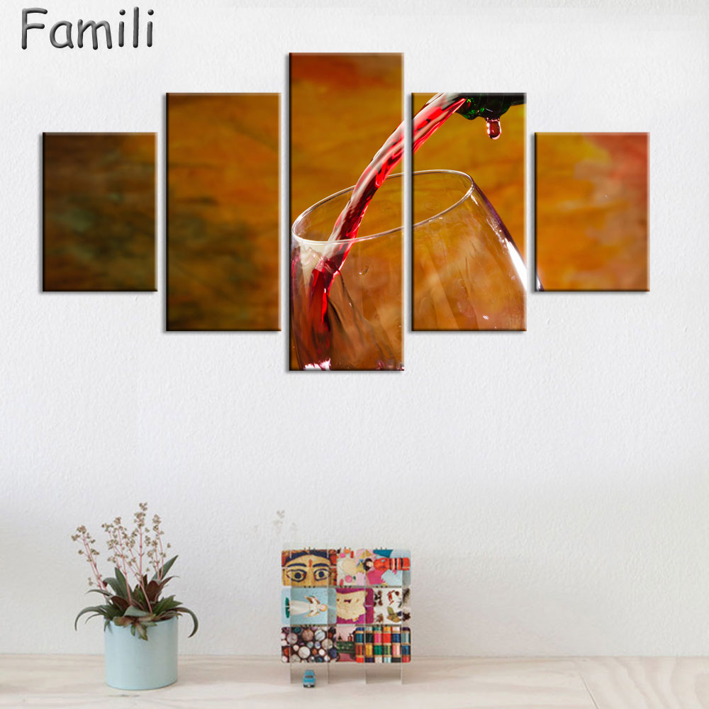 2017 Wall Art Fruit Grape Red Wine Glass Picture Art For: HD Printed 5 Piece Canvas Art Grape Red Wine Glasses Oak