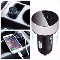 Portable Mini Dual USB Car Autos Charger Adapter With LCD Display For Samsung S6 S7 Note