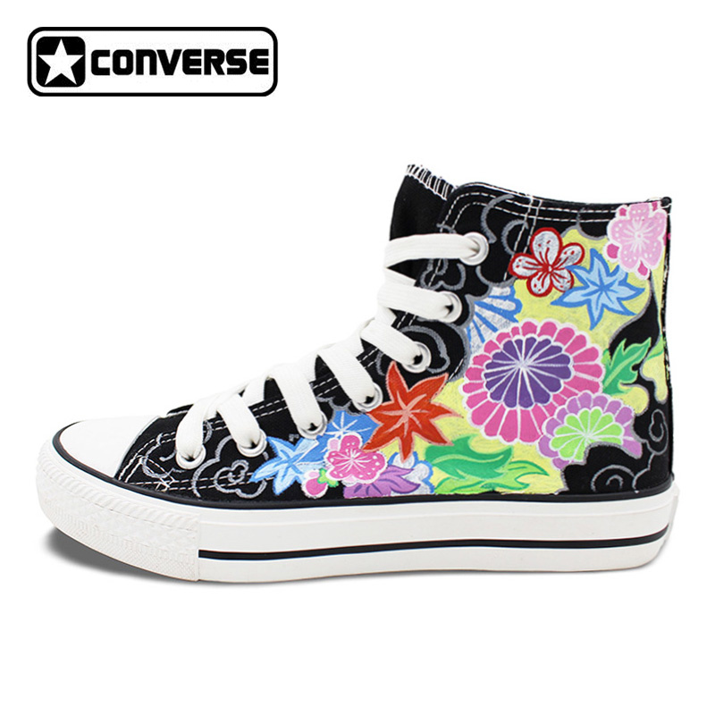 Womens Mens Converse Woman Man Shoes Floral Totem Original Design Hand Painted Canvas Shoes Black High Top Sneaker Gifts