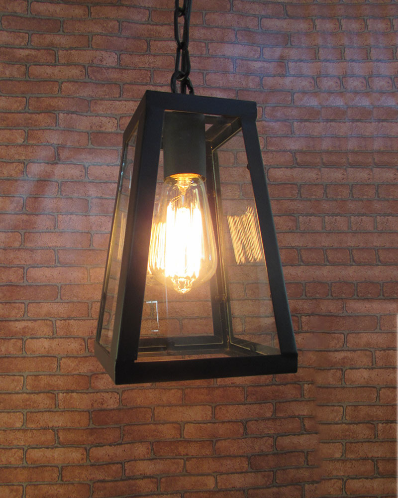 Industrial Vintage Retro Style Iron Framed Glass Shade Pendant Lamp Lampfair
