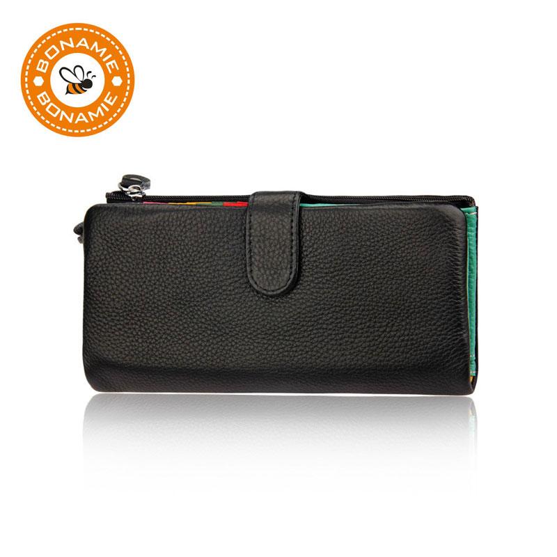 BONAMIE Genuine Leather Removable Women Wallet Female Luxury Brand Long Wallet RFID Elegant Lady Purse Lovely