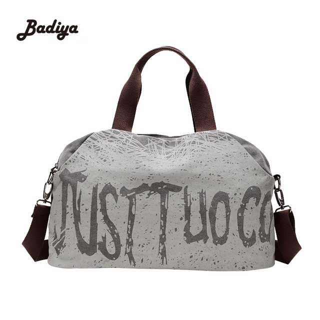 Vintage Womens Duffel Bag Canvas Women Travel Bags Carry On Luggage Bags Travel Tote Large Capacity Ladies Letter Print Bags