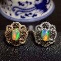 Natural opal gem anillo de piedras preciosas Anillo de piedra Natural 925 de plata esterlina de moda Elegante Flores redondas de las mujeres chica regalo de La Joyería