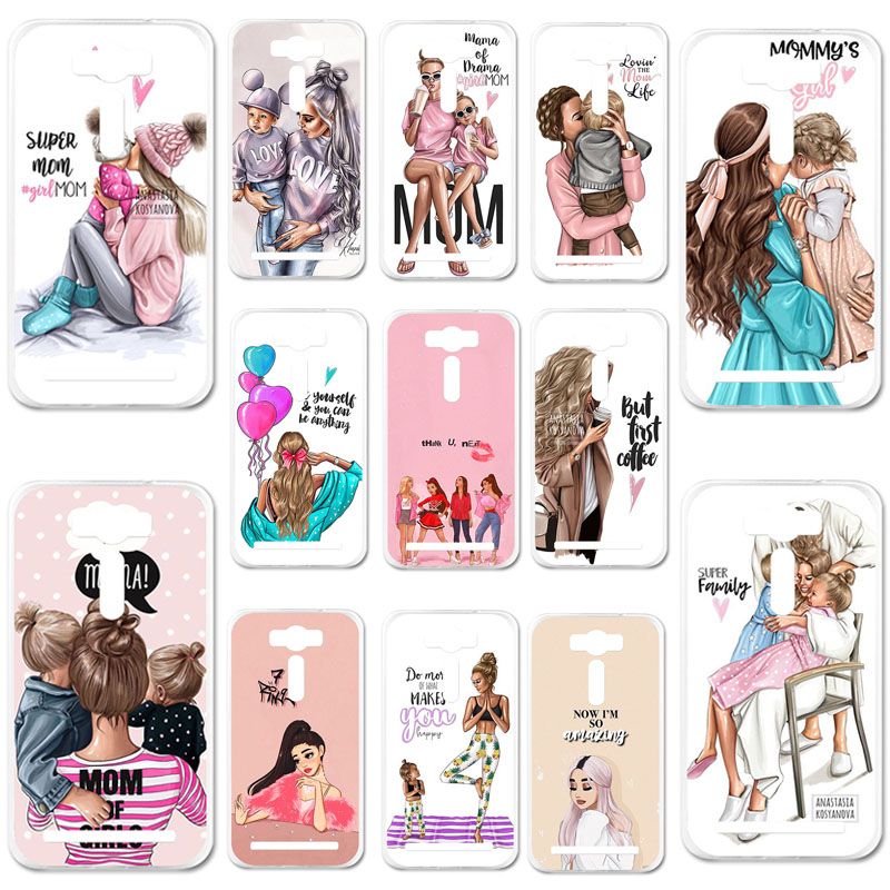 Uppbo Phone Cases Black Brown Hair Baby Mom Girl Queen Soft TPU Case For <font><b>Asus</b></font> <font><b>Zenfone</b></font> <font><b>5</b></font> <font><b>ASUS</b></font>_T00J <font><b>A501CG</b></font> <font><b>A500CG</b></font> A500KL <font><b>5</b></font>.0 inch image
