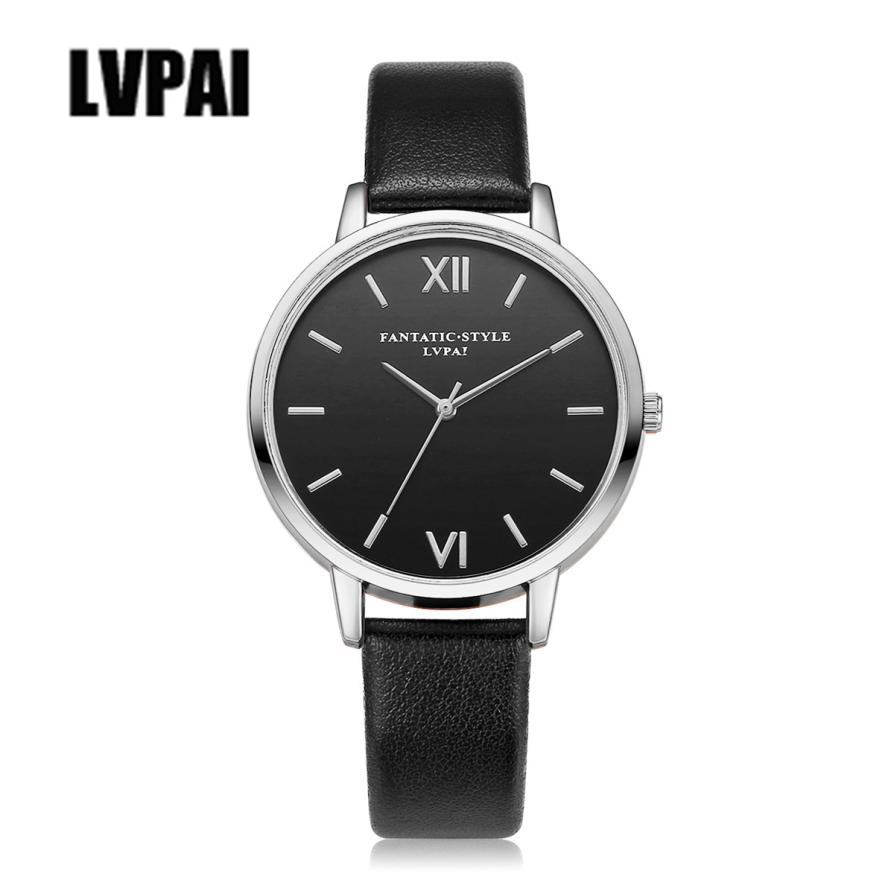 LVPAI Roman Numerals Business Watch Women Clock Leather Analog Quartz Wrist Watch Women's Ladies Watches Reloj Montre #ZYL newly design dress ladies watches women leather analog clock women hour quartz wrist watch montre femme saat erkekler hot sale