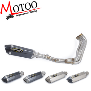 Motoo - FOR YAMAHA MT09 MT-09 FZ-09 not tracer 2014-2018 Motorcycle full exhaust system slip on with exhaust muffler escape