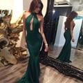 Sexy Sereia Verde Prom Vestido de Noite 2017 Halter Mangas Voltar Zipper Árabe Dubai Longo Formal Partido Vestidos Vestido de Festa