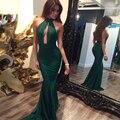Verde atractivo de La Sirena de Baile Vestido de Noche 2017 Halter Sin Mangas Parte Posterior Cremallera Árabe Dubai Formal Largo Vestidos Del Partido Vestido de Festa