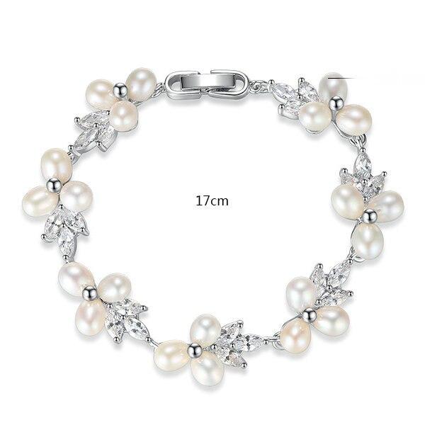 casamento flor pulseiras de pérolas naturais pulseiras senhora