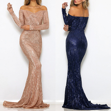 Sequined Maxi Dresses Champagne Gold Navy Blue Floor Length Party Dresses Sexy Maxi Dress Evening Gown Dress Off The Shoulder