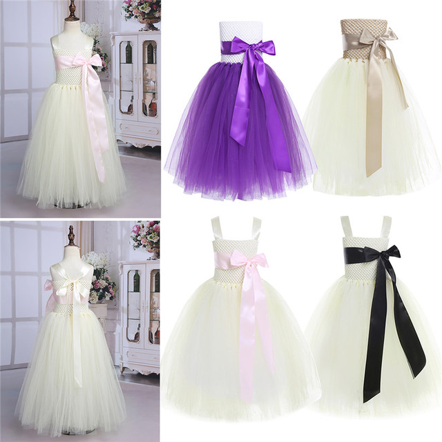Strapless Tulle Girls Purple Dress