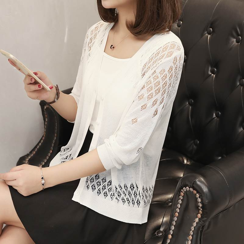 f4a1681195 Women Summer Cardigan Kimono Casual 3 4 Sleeve Coat Solid Open Front Blouse  Top Clothing White Red Gray Black Cover Up Loose-in Cardigans from Women s  ...