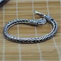Men's Silver Bracelet 925 Sterling Silver Vintage Silver Rope Chain Bracelet hand made keel fake pay a 100