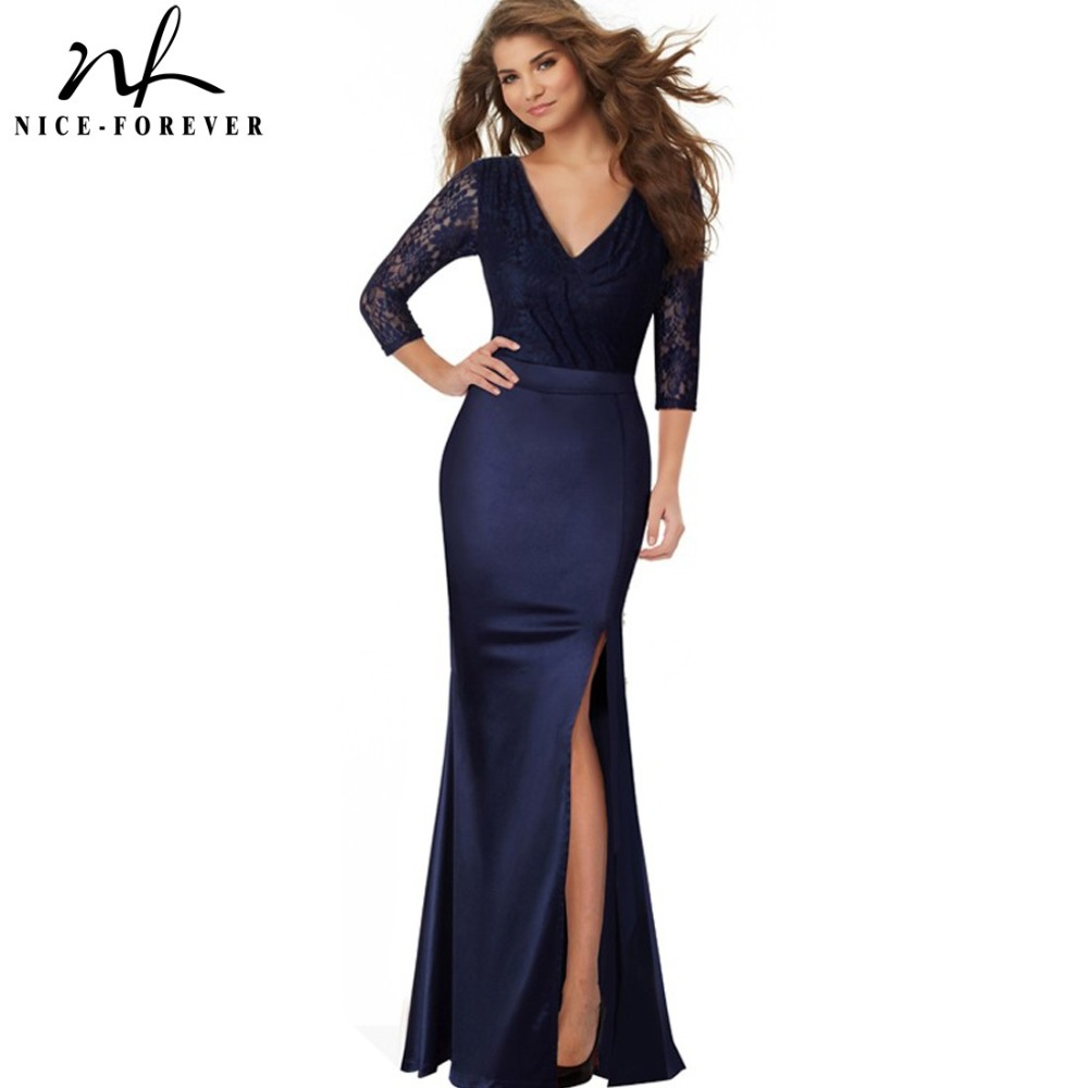 2c86ab4f8 Formal Occasion Dark Blue Decent Women Side Split Long Maxi Dress Elegant  Celebrity Lace Evening Party Women Satin Dress HA018