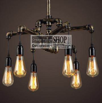 Água de Loft Industrial do Vintage lustre de ferro luz pingente de Metal