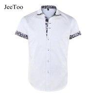 New Casual Cotton Men Shirt Long Sleeve Slim Fit Shirt White Turn Down Collar Mens Dress