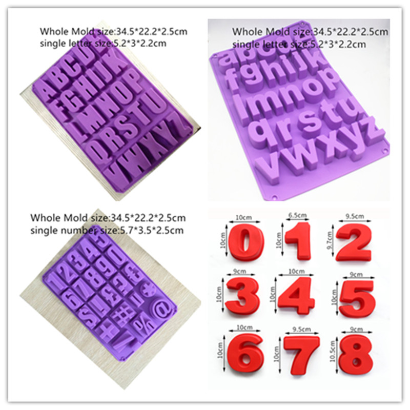 Soap Making 3d Number Mould Alphabet English Letter Silicone Molds Birthday Cake Decorating Handmade Soap Mold