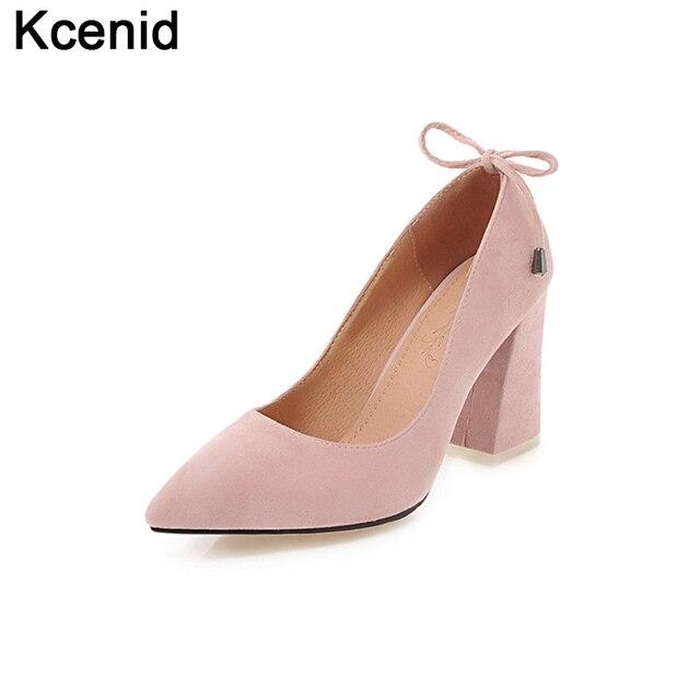 9ef377a1f Kcenid 33-46 rosa sapatos mulher Grande tamanho moda sapato de bico fino  8.5 cm