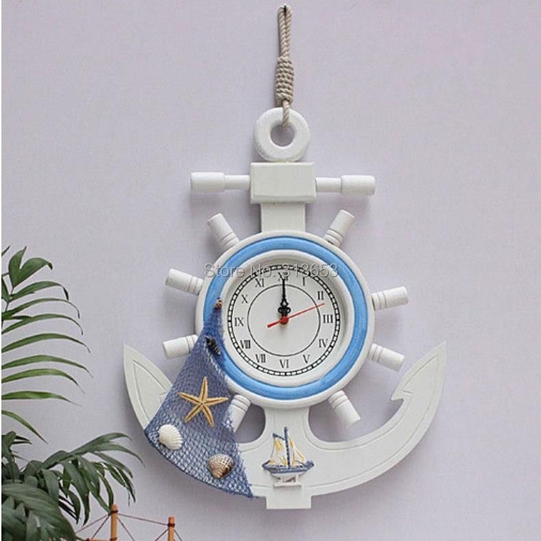 Bois anchor rudder muet mur montres home decor horloge murale montre de poche horloge marine cloche ornements papier peint