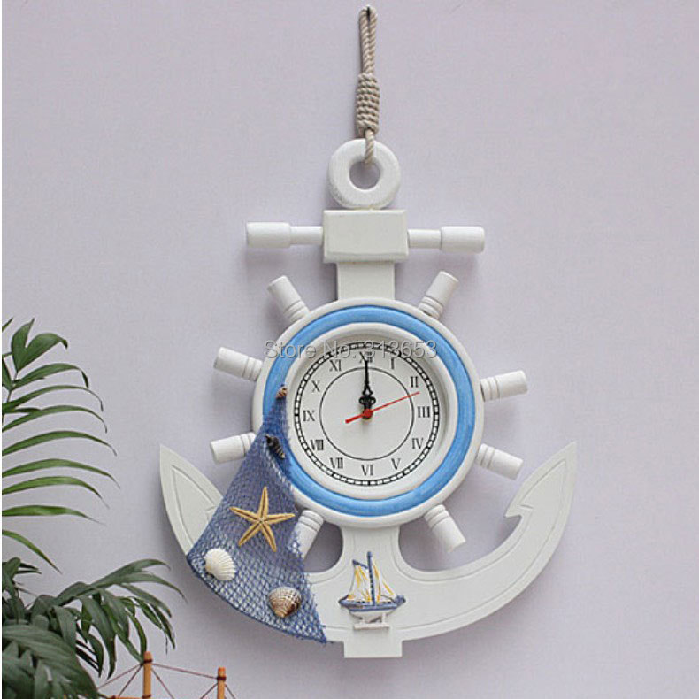 Wood Anchor Rudder Mute Wall Watches Home Decor Wall Clock