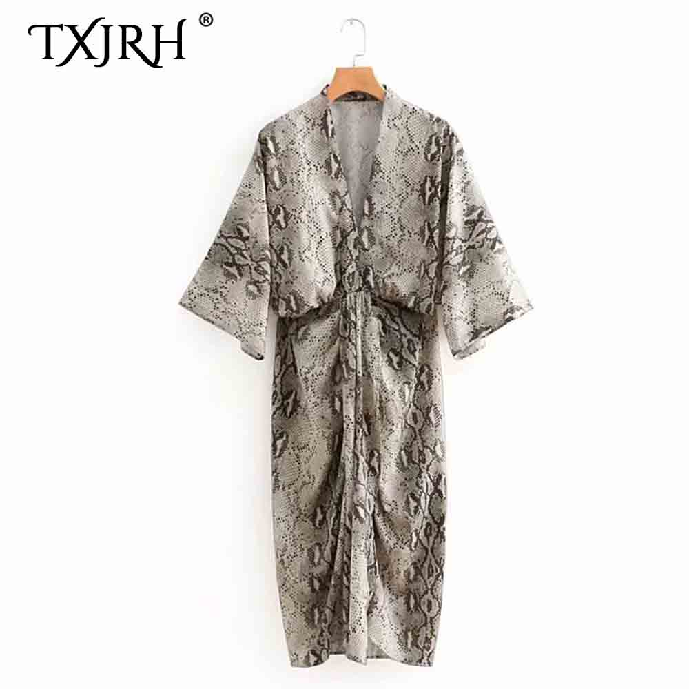 TXJRH Sexy Deep V-Neck Snake Pattern Print Kimono Dress Ruched Draped On Front Loose Batwing Sleeve Mid-Length Vestidos Dress