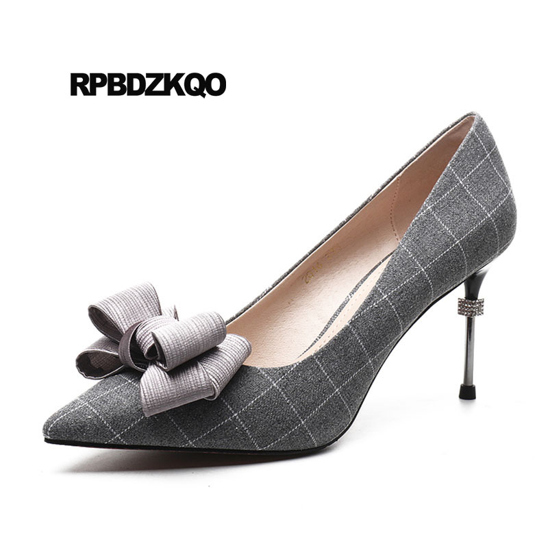 1f6af6d5cab7de Haute Noir Talons Métal Bout Pointu Nouvelles En Marque Chaussures 4 Mode  Bureau Arc Dames Mince De gris 34 ...