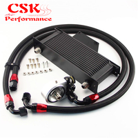 16 Row AN10 Racing Engine Oil Cooler Kit Fits For 01 05 Subaru Impreza WRX/STi Silver/Black