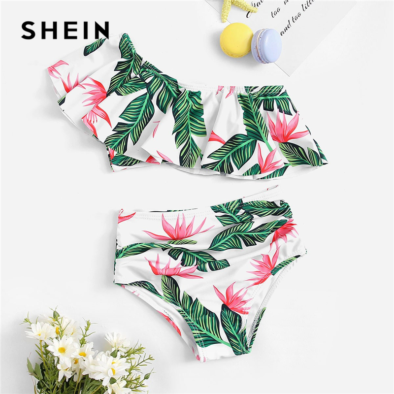 SHEIN Kiddie Girls Random Tropical One Shoulder Crop Top With Ruched Bikini Kids Swimsuit 2019 Summer High Waist Casual Swimwear women monokini sexy swimwear contrast halter neck patchwork padded backless bodysuits one piece swimsuit