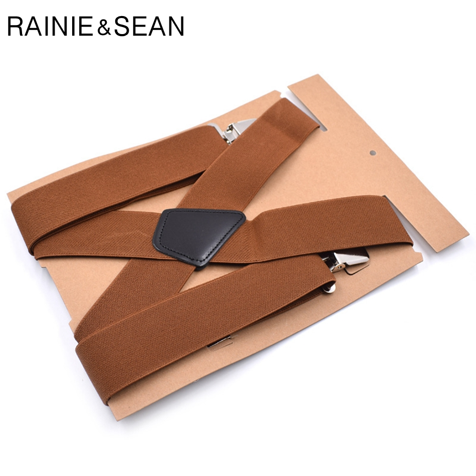 RAINIE SEAN Wide Male Suspenders 4 Clips Brown Mens Suspenders Braces Business Real Leather Shirt Suspenders Belt 120cm