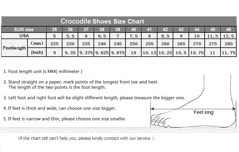 Crocodile Shoes size chart