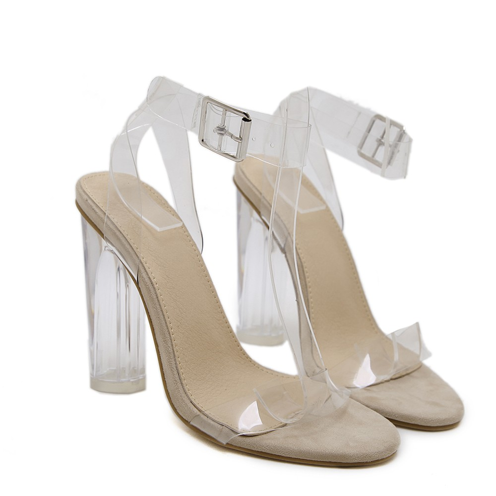 Transparent Shoes Women Sandals Thick Heel Sexy High-Heeled Leisure Shoes Sandals For Ladies Zapatos Sapato Feminino Salto#g30