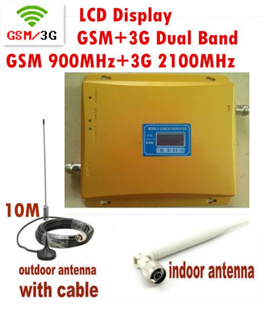 1 Unidades doble banda GSM 3 G booster con señal de visualización de la pantalla incluyendo la antena y el cable, GSM W-CDMA repetidor 1 Unidades at 900 2100 MHz