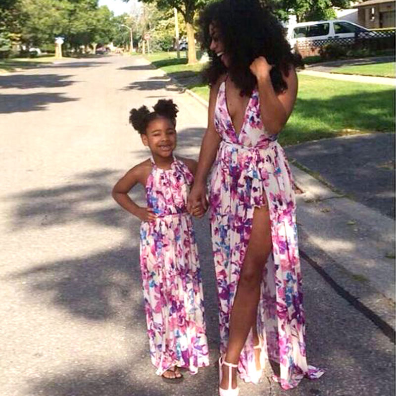 MVUPP mother daughter dresses family matching outfits floral print v-neck baby girl and mother clothing mommy and me sundress