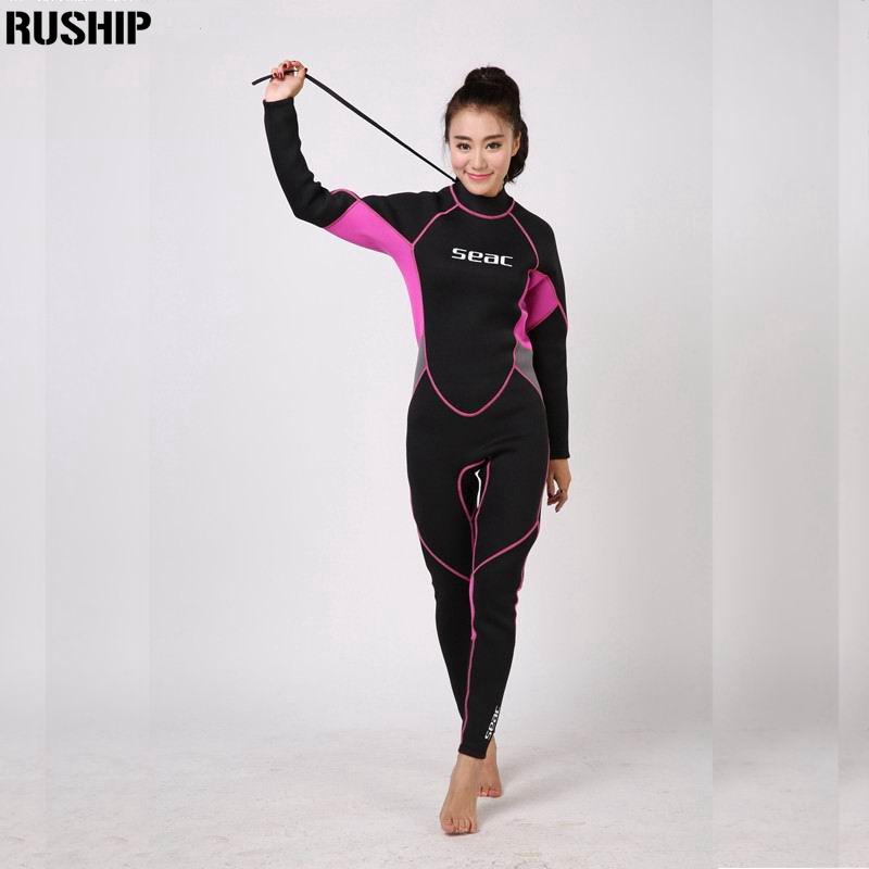 SEAC Professional 3mm Women Neoprene Wetsuit Diving suit Equipment One Pieces full bodysuit Warm surfing snorkeling swimming women 1 5mm neoprene professional heated wetsuit vest one piece sleeveless swimming diving vest surfing snorkeling wetsuit