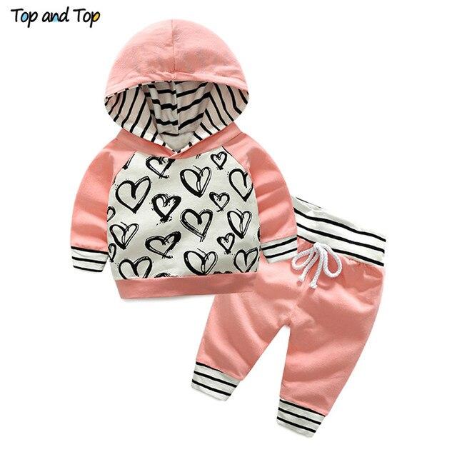 Top en Top Fashion Leuke Pasgeboren Baby Meisje Kleding Hooded Sweatshirt Gestreepte Broek 2 stuks Outfit Katoenen Baby Trainingspak set