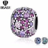 Genuine 925 Sterling Silver Pink Sparkles Pave Ball Beads Charms Pendant Fit Original Charm Pandora Bracelet