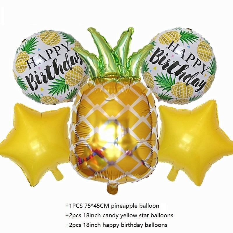 2pcs Pineapple Star Foil Gold Aloha Summer Beach Party Aluminum Balloon Wedding