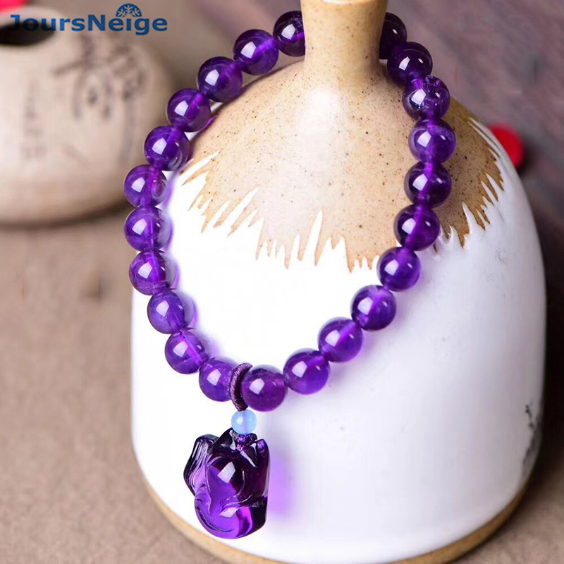 Wholesale Purple Natural Crystal Bracelets Round Beads With Fox Pendant Hand String Lucky Beauty for Women Gift Crystal Jewelry