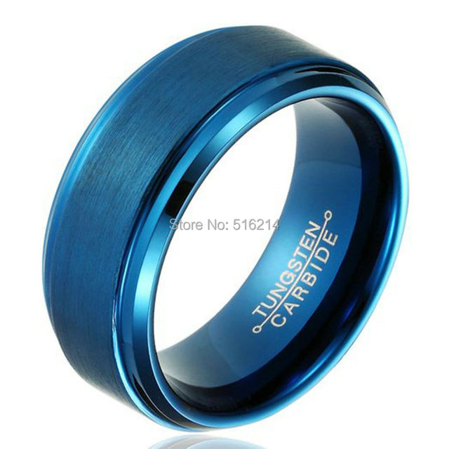 Cool Fashion Men's Jewelry 8mm Blue Plated Tungsten Carbide Ring Male & Female Wedding Band Brushed Center Step Polished Edge