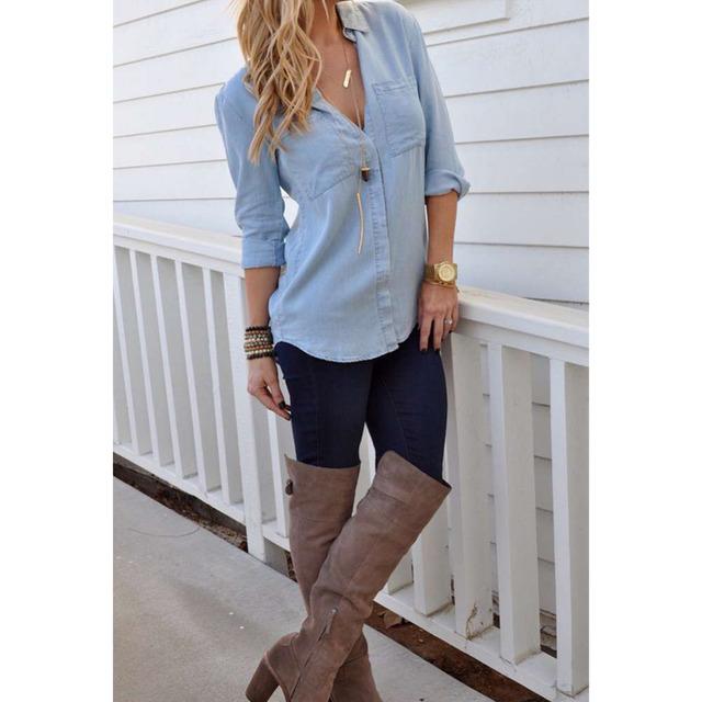 2017 verão sólida manga longa blusa mulheres camisa jean casuais turn-down collar bolso design slim botão blusa legal topos